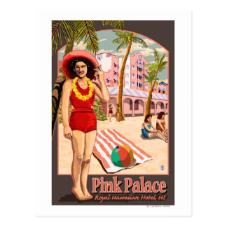 Cartão Postal Hotel havaiano real em Havaí