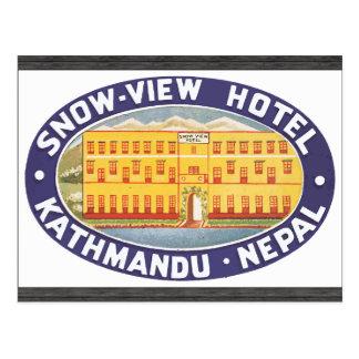 Cartão Postal Hotel Kathmandu Nepal da Neve-Vista, vintage