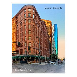Cartão Postal Hotel majestoso no por do sol, Denver do palácio