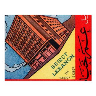 Cartão Postal Hotel retro Beirute de Omar Khayyam do kitsch do