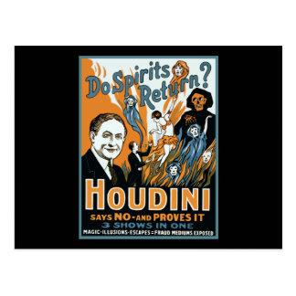 Cartão Postal Houdini faz o retorno dos espírito