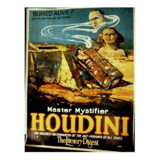 """Cartão Postal Houdini, """"teatro do vintage do resumo literário"""""""