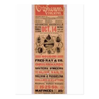 """Cartão Postal Houdini, teatro retro de """"Orpheuw"""""""