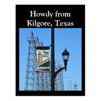 Cartão Postal Howdy de Kilgore, Texas, torres de óleo na rua