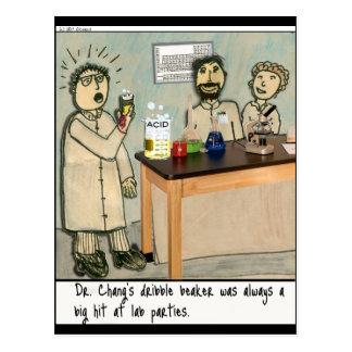 Cartão Postal Humor do laboratório da taça do fluxo