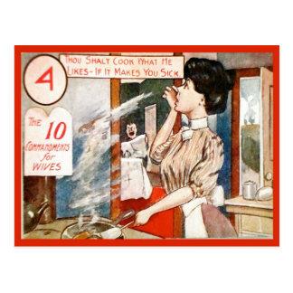 Cartão Postal Humor do vintage, 10 mandamentos para esposas