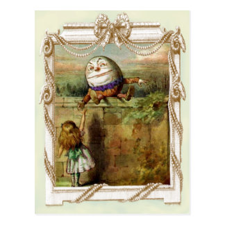 Cartão Postal Humpty Dumpty e Alice