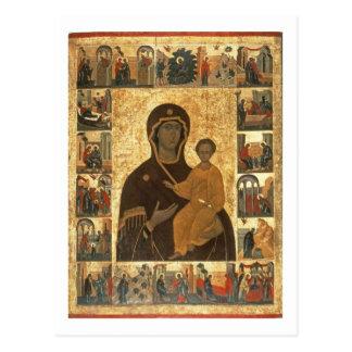 Cartão Postal Ícone de Hodegetria do Virgin de Smolensk, c.1450