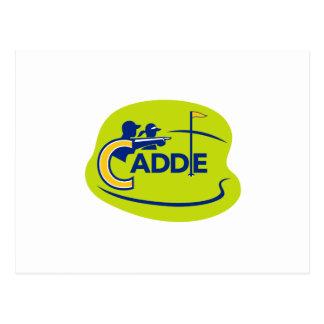 Cartão Postal Ícone do campo de golfe do Caddie e do jogador de