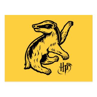 Cartão Postal Ícone do texugo de Harry Potter   Hufflepuff