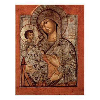 Cartão Postal Ícone do Virgin abençoado com três mãos