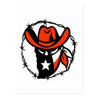 Cartão Postal Ícone foragido do fio de Barb da bandeira de Texas