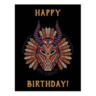 Cartão Postal Ícone tribal preto da máscara da pantera | Erik