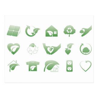 Cartão Postal ícones ambientais 1