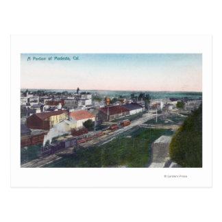 Cartão Postal Ideia aérea de uma parcela de CityModesto, CA