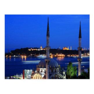 Cartão Postal Ideia da noite de lugares populares de Istambul