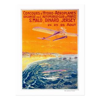 Cartão Postal Ideia de planos do flutuador no poster do ar e da