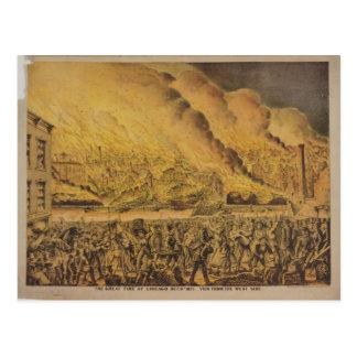Cartão Postal Ideia do grande fogo de Chicago