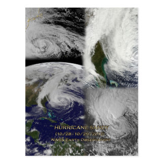 Cartão Postal Ideia satélite da colagem do furacão Sandy