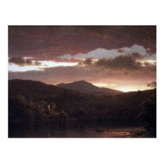 Cartão Postal Igreja de Frederic Edwin - crepúsculo (Catskill