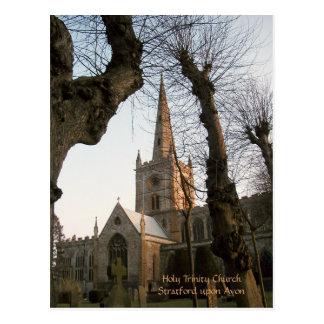 Cartão Postal Igreja de trindade santamente, Stratford em cima