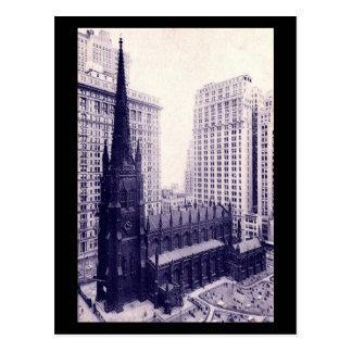 Cartão Postal Igreja de trindade, vintage da Nova Iorque