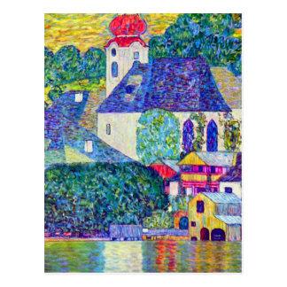 Cartão Postal Igreja de Wolfgang da rua de Klimt em Unterach no