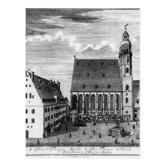 Cartão Postal Igreja e escola de St Thomas em Leipzig, 1723