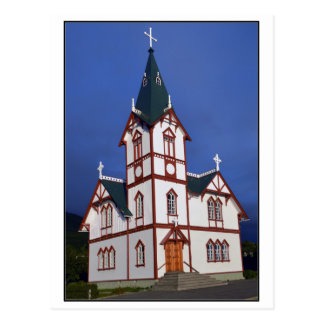 Cartão Postal Igreja luterana de Husavik, Islândia