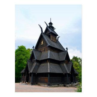 Cartão Postal Igreja medieval norueguesa do Stave