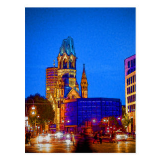 Cartão Postal Igreja memorável de Kaiser Wilhelm, Berlim, Illu