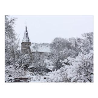 Cartão Postal igreja na neve