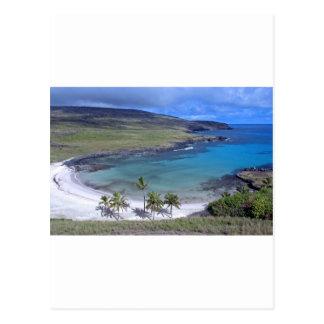 Cartão Postal Ilha de Páscoa da praia de Anakena