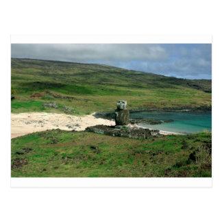 Cartão Postal Ilha de Páscoa de Rapa Nui da praia de Anakena da