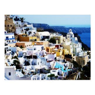 Cartão Postal Ilha de Santorini na FOTO da piscina