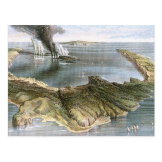 Cartão Postal Ilha de vulcão submarina de Santorini