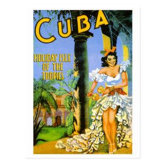 Cartão Postal Ilha do feriado de Cuba do poster de viagens dos