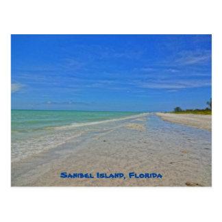 Cartão Postal Ilha Florida de Sanibel - linha costeira do Golfo