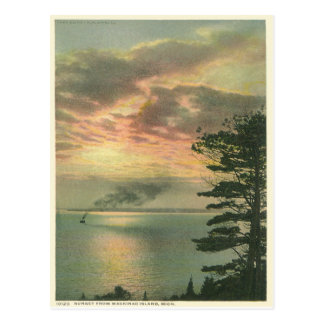 Cartão Postal Ilha Michigan de Mackinac do por do sol do vintage