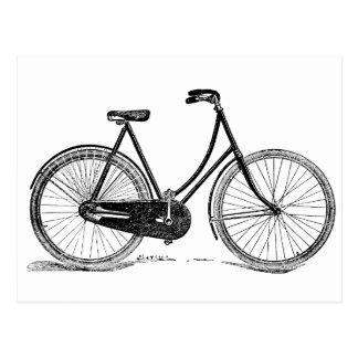Cartão Postal Ilustração antiga da silhueta da bicicleta do