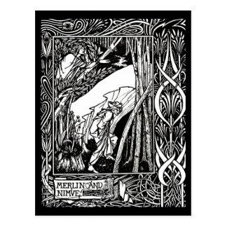 Cartão Postal Ilustração-Aubrey Beardsley 6 do Cartão-Vintage