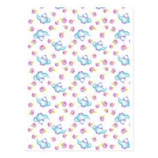 Cartão Postal Ilustração azul da flor da flor do rosa do rosa do