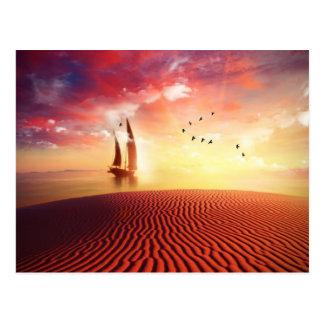 Cartão Postal Ilustração bonita da fantasia do deserto e do