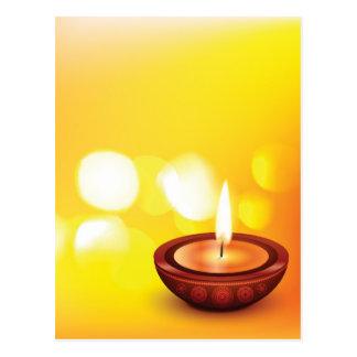 Cartão Postal Ilustração bonita do diya do diwali