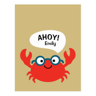 Cartão Postal Ilustração bonito do caranguejo de Specky
