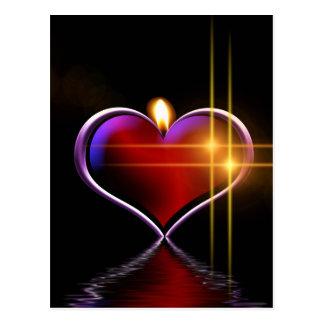 Cartão Postal Ilustração colorida artística da vela do coração