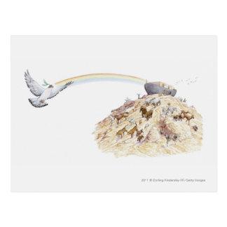 Cartão Postal Ilustração da arca de Noah com sair dos animais