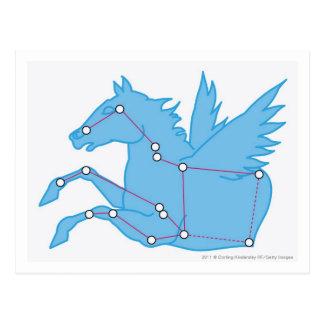 Cartão Postal Ilustração da constelação de Pegasus
