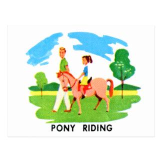 Cartão Postal Ilustração da equitação do pônei do recurso do
