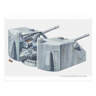 Cartão Postal Ilustração da torreta de arma em uma navio de